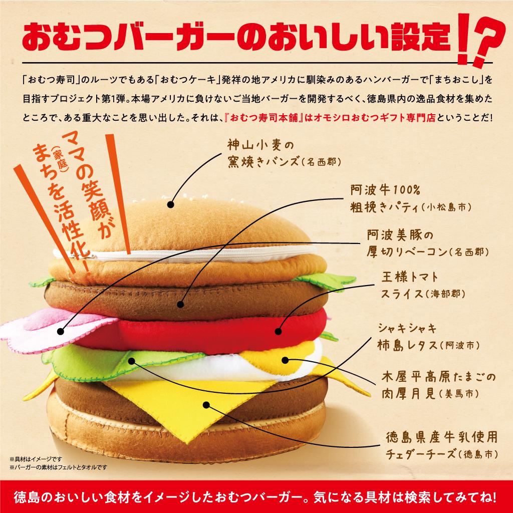 面白いおむつギフト専門店が徳島県の美味しい素材をイメージして作ったハンバーガー